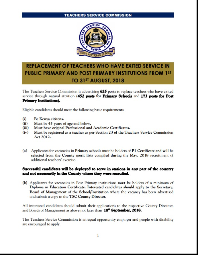 TSC has advertised Teaching posts for teachers who exited service