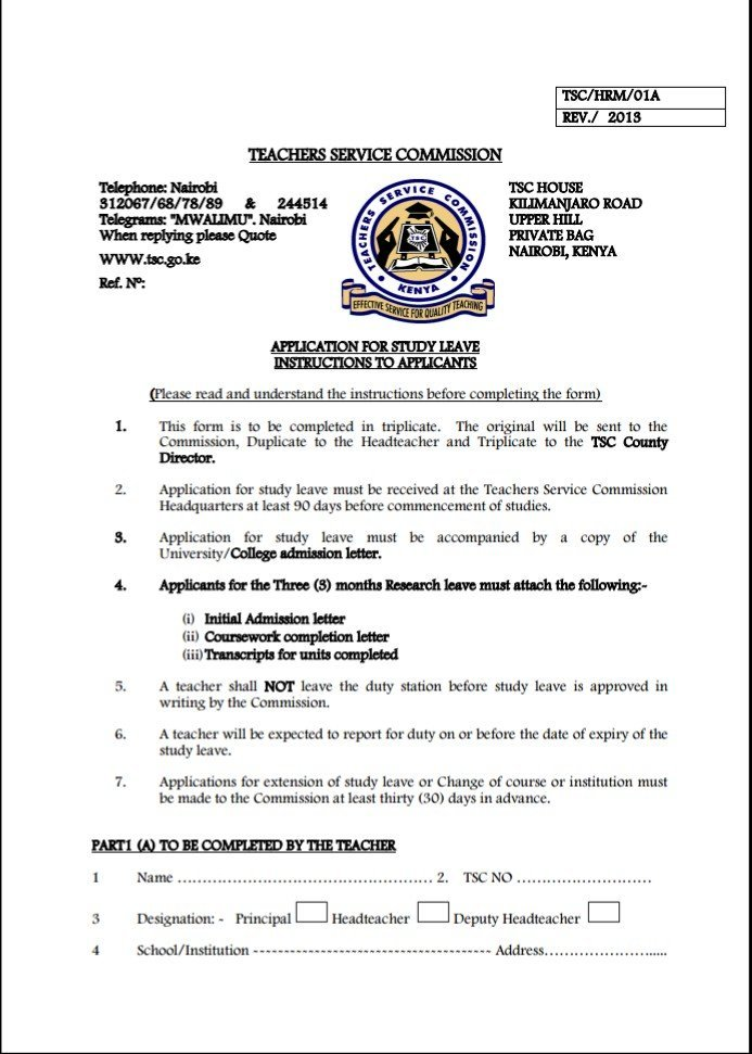 All Important Teacher Service Commission (TSC) Forms