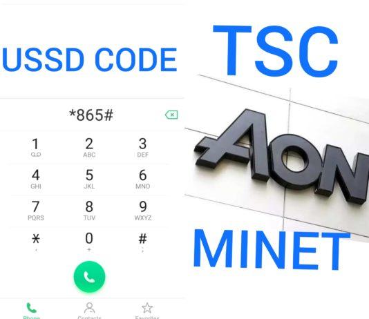 TSC AON Minet USSD Code *865#