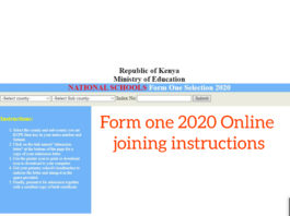Online form one 2020 joining instructions and Admission letter