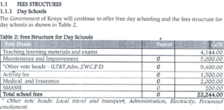 Kenya Secondary school fees structure 2020; FSDE Guidelines