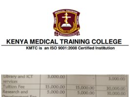KMTC Fee Structure for Self Sponsored and Regular Students 2020