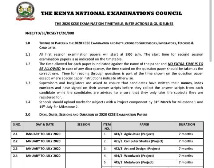 KCSE 2020 KNEC Examination Timetable pdf Download