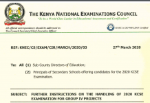 KNEC Circular on postponing MilestoneS 1 and 2 KCSE 2020