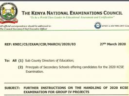 KNEC Circular on postponing MilestoneS 1 and 2 KCSE 2020